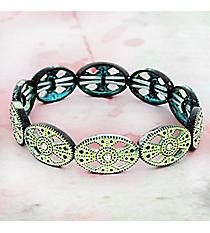 Crystal Accented Antiqued Western Stretch Bracelet #OB06459-PTIVY