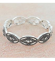 Crystal Accented Antiqued Silvertone Western Stretch Bracelet #OB06462-PTIVY