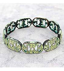 Crystal Accented Antiqued Western Stretch Bracelet #OB06464-PTIVY
