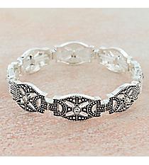 Crystal Accented Antiqued Silvertone Western Stretch Bracelet #OB06465-PTIVY