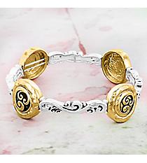 Two-Tone Scroll Stretch Bracelet #OB06476-TT