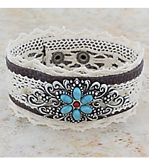 Beaded Burnished Silvertone Scroll Flourish Lace & Leather Cuff Bracelet #OB06500-SBTQS