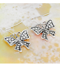 Silvertone Crystal Butterfly Earrings #OE1462-ASCRY