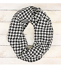 Black and White Houndstooth Woven Infinity Scarf #OF0007-BWT