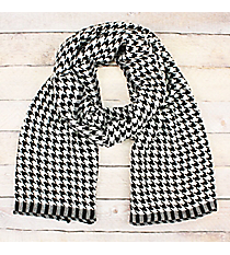 Black and White Houndstooth Woven Long Scarf #OF0009-BWT
