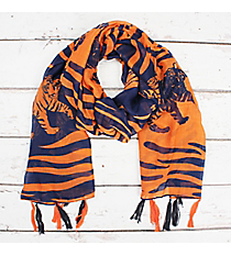 Navy and Orange Tiger Striped Long Scarf #OF0083-ONY