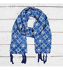 Blue and White Paw Print Moroccan Long Scarf #OF0084-BLU