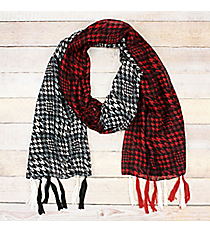 Red & Crimson and Gray & White Houndstooth Colorblock Long Scarf #OF0089-WCR