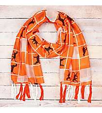 Orange and White Squares with Dogs Long Scarf #OF0091-ORG