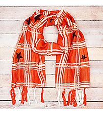 Orange and White Longhorn Squares with Stars Long Scarf #OF0092-BRN