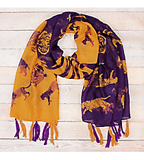 Purple and Gold Tiger Striped Long Scarf #OF0093-PYL