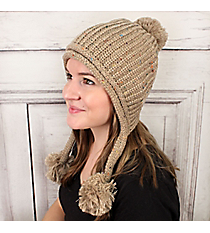 Rainbow Speckled Cream Beanie with Pom-Pom Tassels #OH0539-CRM