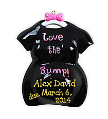 "3.5"" ""Love the Bump"" Black Ornament #OR800-A-BLACK"