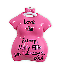"3.5"" ""Love the Bump"" Pink Ornament #OR800-A-PINK"