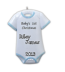 "3.5"" ""Baby's 1st Christmas"" Blue Onesie Ornament #OR802-B"