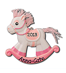 "3.5"" Baby's First Christmas Pink Rocking Horse Ornament #OR803-P"