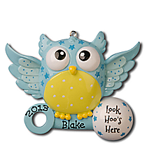 "3"" Blue Baby Owl ""Look Hoo's Here"" Ornament #OR897-B"