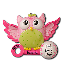 "3"" Pink Baby Owl ""Look Hoo's Here"" Ornament #OR897-P"