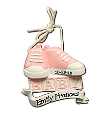 "3"" Pink Baby Shoes and Blocks Ornament #OR902-P"