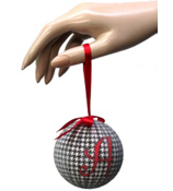 "3"" Houndstooth with Red Initial Ball Ornament #93182 *Choose Your Initial"