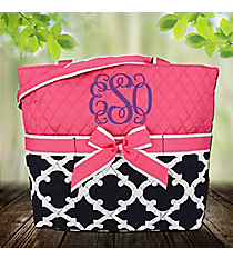 Navy Moroccan Geometric Quilted Diaper Bag with Pink Trim #OTG2121-PINK