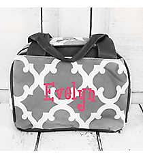 Gray Moroccan Geometric Insulated Bowler Style Lunch Bag #OTG255-GRAY