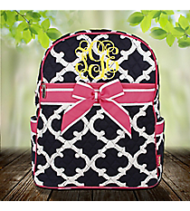Navy Moroccan Geometric Quilted Large Backpack with Pink Trim #OTG2828-PINK