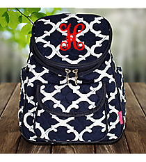 Navy Moroccan Geometric Quilted Petite Backpack #OTG286-NAVY