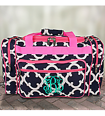 "20"" Navy Moroccan Geometric Duffle Bag with Pink Trim #OTG420-PINK"