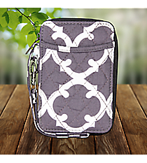 Gray Moroccan Geometric Quilted Wristlet #OTG495-GRAY