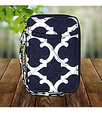 Navy Moroccan Geometric Quilted Wristlet #OTG495-NAVY