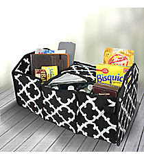 Black Moroccan Geometric Utility Storage Tote with Insulated Bag #OTG516-BLACK