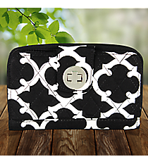 Black Moroccan Geometric Quilted Organizer Clutch Wallet #OTG517-BLACK