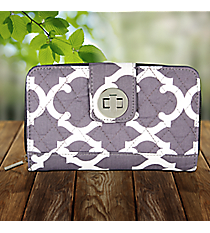 Gray Moroccan Geometric Quilted Organizer Clutch Wallet #OTG517-GRAY