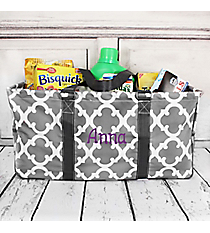 Gray Moroccan Geometric Collapsible Haul-It-All Basket with Mesh Pockets #OTG603-GRAY