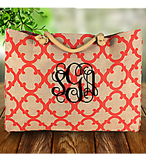 Large Coral Moroccan Geometric Jute Shoulder Tote #OTG634-CORAL