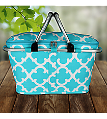 Aqua Moroccan Geometric Collapsible Insulated Market Basket with Lid #OTG658-AQUA