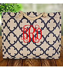 Navy Moroccan Geometric Juco Box Tote #OTG675-NAVY