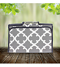 Gray Moroccan Geometric Roll Up Jewelry Bag #OTG716-GRAY