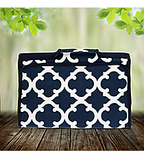 Navy Moroccan Geometric Roll Up Jewelry Bag #OTG716-NAVY