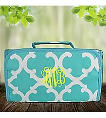 Aqua Moroccan Geometric Roll Up Cosmetic Bag #OTG729-AQUA