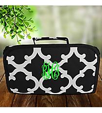 Black Moroccan Geometric Roll Up Cosmetic Bag #OTG729-BLACK