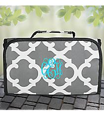 Gray Moroccan Geometric Roll Up Cosmetic Bag #OTG729-GRAY