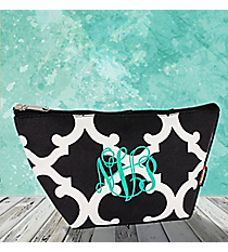 Black Moroccan Geometric Cosmetic Bag #OTG820-BLACK