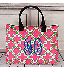 Pink and Green Moroccan Geometric Quilted Large Shoulder Tote with Navy Trim #OTM3907-NAVY