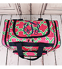 "Pink and Green Moroccan Geometric Duffle Bag with Navy Trim 17"" #OTM417-NAVY"