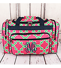 """Pink and Green Moroccan Geometric Duffle Bag with Navy Trim 20"""" #OTM420-NAVY"""