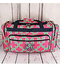 """Pink and Green Moroccan Geometric Duffle Bag with Navy Trim 23"""" #OTM423-NAVY"""