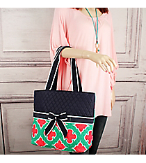 Mint and Coral Moroccan Geometric Quilted Diaper Bag with Navy Trim #OTP2121-NAVY
