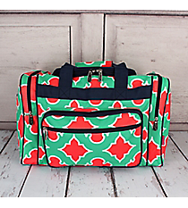 "Mint and Coral Moroccan Geometric Duffle Bag with Navy Trim 17"" #OTP417-NAVY"